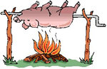 Pig over fire