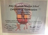Certificate of appreciation awarded to aVermonter Enterprises by the Army Mountain Warfare School